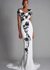White dress with black pattern