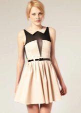 Dress beige with black insert