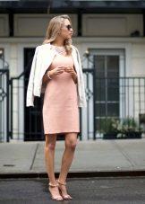 Persikka lyhyt mekko, jossa takki