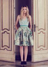 Mint dress with green print