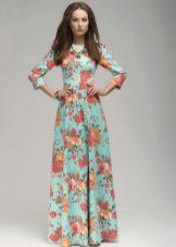 Mint dress with orange print