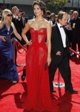 Gaun chiffon panjang merah