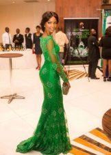 Sated green long dress