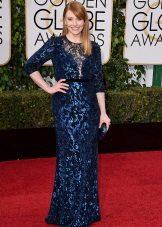 Marineblauwe lange kanten jurk met pailletten