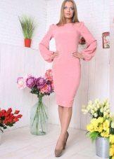 Roz rochie midi cu mâneci