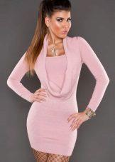 Rochie tricotată roz tricotată
