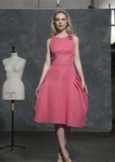 rochie roz lungime midi