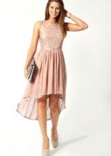 Rochie roz cu ambreiaj gri
