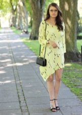 Asymmetrical summer dress with black sandals