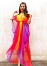 Asymmetrical long bright chiffon dress