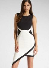 Strict asymmetrical black and white dress
