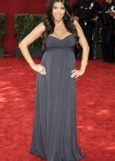 Lange grijze bendejurk voor zwangere vrouwen