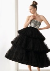 Black evening fluffy dress