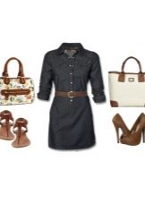 Shirt-dress and accessories for women of the color type Autumn