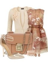 Beige dress with a print and accessories for women of the color type Autumn