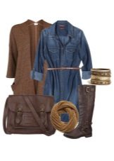 Denim shirt dress and accessories for women of the color type Autumn