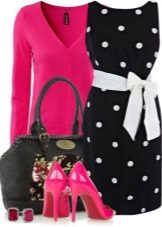 Black dress in peas and accessories for women for the color type Bright Winter