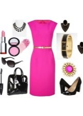 Pink dress and accessories for it for women of color type Bright Winter