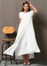 Valkoinen pellava pitkä mekko