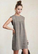 Harmaa pellava lyhyt mekko