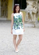Short white print A-line dress