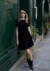 Black A-Line Short Dress With White Collar
