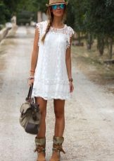 A-line and white lace dress