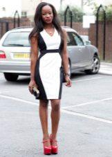 Black and White Mid-Length Sheath Dress