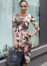Mid-length floral dress with floral print