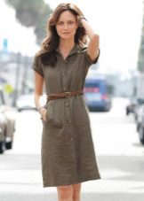 Khaki Office Shirt Dress