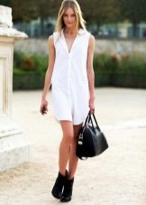 White Short Sleeveless Shirt Dress
