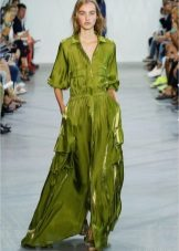 Long green shirt dress