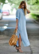 Long dove shirt dress