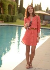 Short coral shirt dress