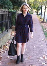 Casual Plaid Shirt Dress