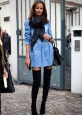 Denim shirt dress with boots