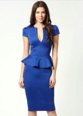Bright blue dress of medium length with basky