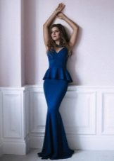 Blue evening mermaid dress with basky