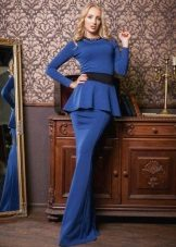 Blue evening dress with basky