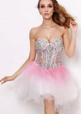 Dress with a transparent corset and rhinestones
