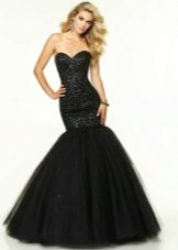 Black evening dress with a corset
