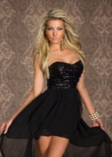 Black short dress with a train and corset