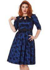 Pakaian cetak biru dengan skirt separuh terbuka untuk yang penuh