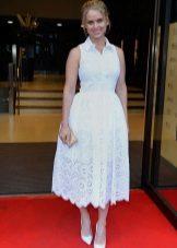 Bot putih untuk pakaian dengan skirt separuh