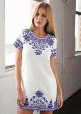 Shift cotton dress na may ethnic print