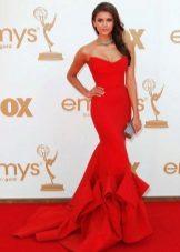 Rød kjole stil havfrue med tog