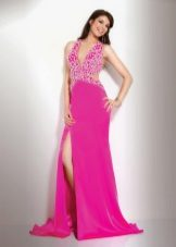 Bright pink dress with rhinestones and train