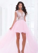 Pink dress with rhinestones and train