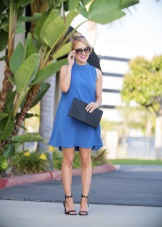 Evening blue dress trapeze with clutch
