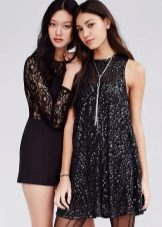 Festive black dress with sequins
